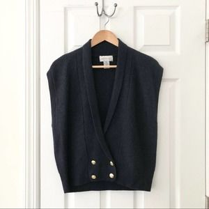 Lauren Cole Navy Double Breasted Sweater Vest MP